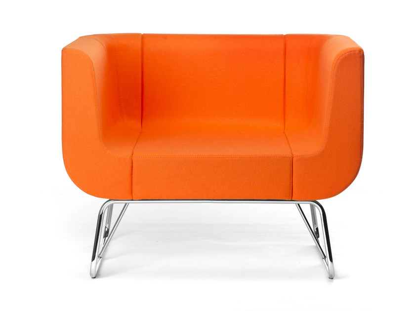 Sled base upholstered easy chair with armrests EOS | Sled base easy chair - True Design