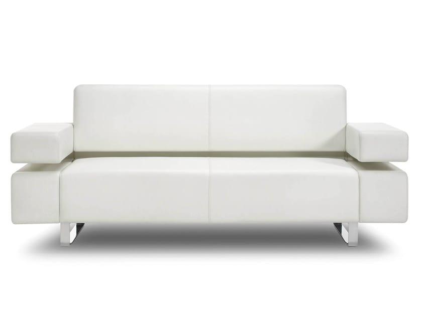 Sled base 2 seater leather sofa POSEIDONE | 2 seater sofa - True Design