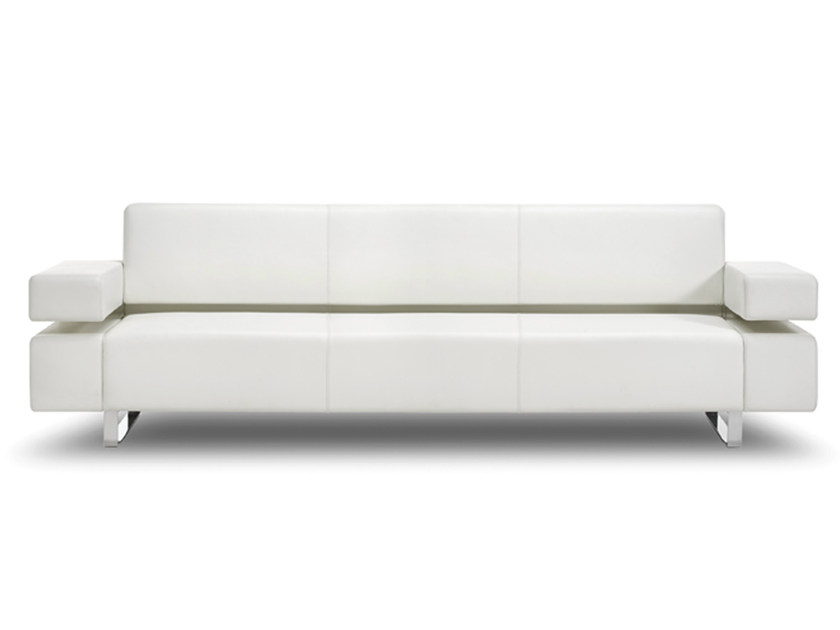 Sled base 3 seater leather sofa POSEIDONE | 3 seater sofa - True Design