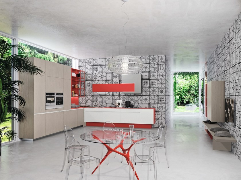 Arctic white, Beijing red lacquered and Polar elm melamine-faced doors.