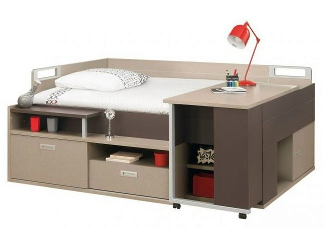 Letto con scrivania e contenitori per ragazzi dimix - Letto a soppalco con scrivania ...
