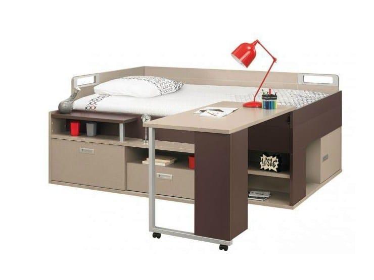 Letto con scrivania e contenitori per ragazzi dimix - Letto con scrivania ...