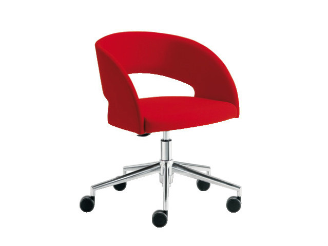 Easy chair with 5-spoke base with casters LOLA | Easy chair with 5-spoke base - Sesta