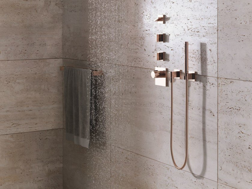 Wall-mounted handshower with hose with individual rosettes MEM | Wall-mounted handshower - Dornbracht