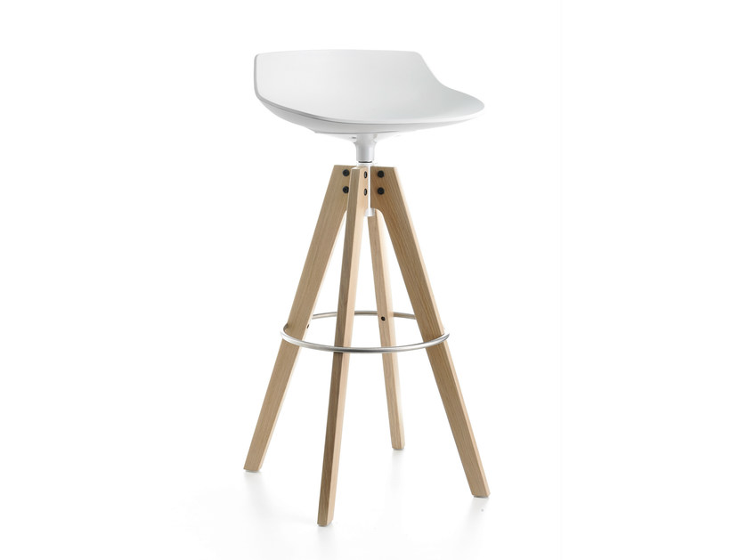 High swivel trestle-based stool FLOW STOOL | Swivel stool - MDF Italia