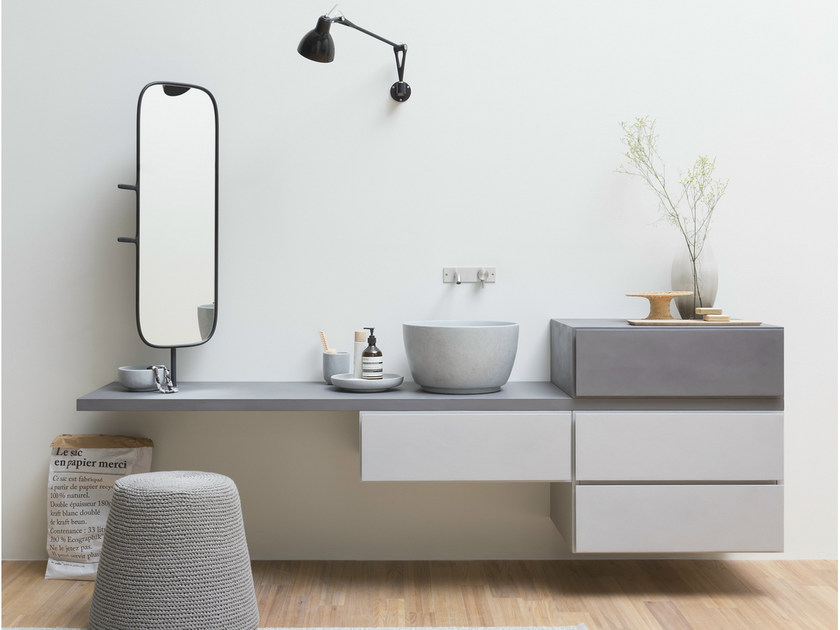 Wall-mounted vanity unit with drawers ESPERANTO | Wall-mounted vanity unit - Rexa Design