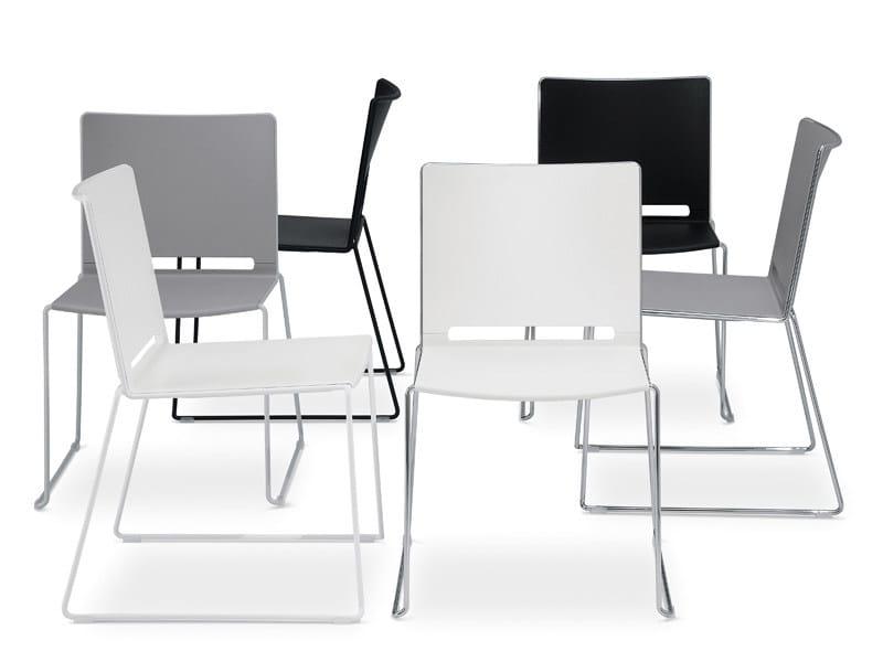 Sled base stackable polypropylene chair FILÒ PLASTIC   Chair - Diemmebi