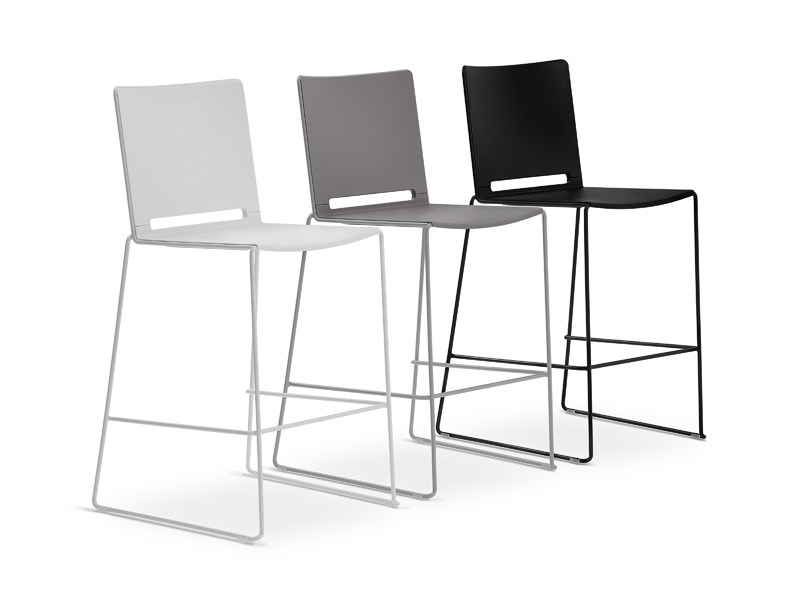 Sled base stackable polypropylene counter stool FILÒ PLASTIC | Counter stool - Diemmebi