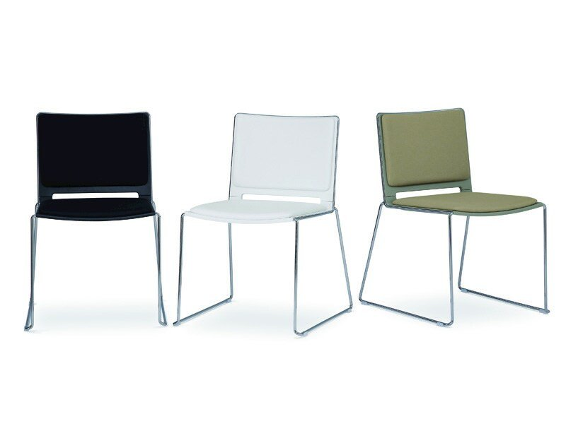 Sled base stackable chair FILÒ SOFT | Chair by Diemmebi