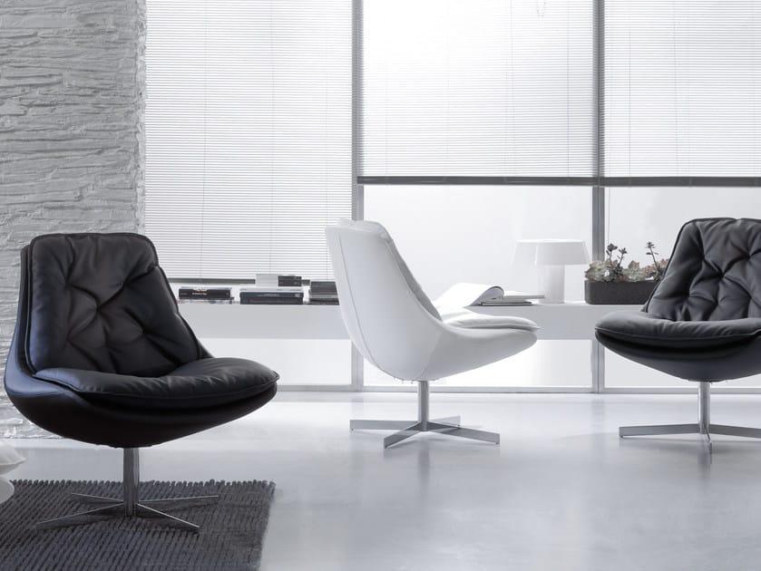 Upholstered leather armchair DAYA | Armchair with 4-spoke base - Bontempi Casa