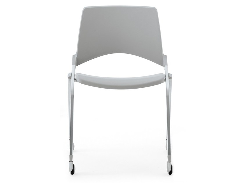 Folding plastic chair with casters KENDÒ PLASTIC | Chair with casters - Diemmebi