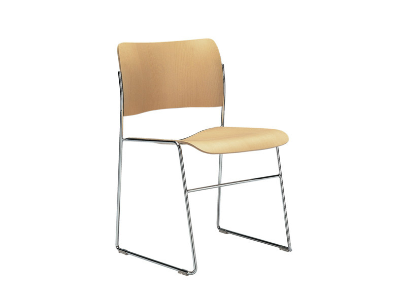 Sled base stackable steel and wood chair 40/4 | Steel and wood visitor's chair - HOWE