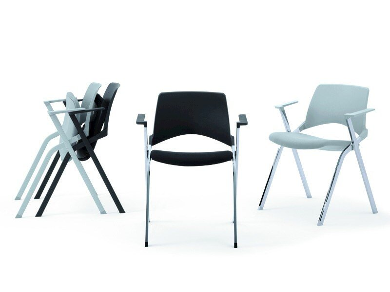 Stackable folding chair with armrests KENDÒ SOFT | Chair with armrests - Diemmebi