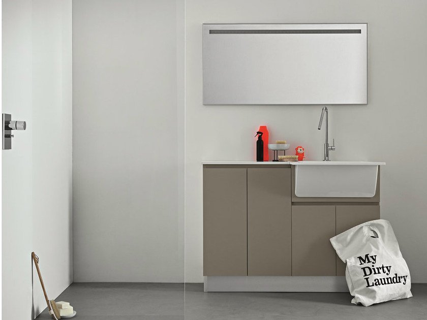 Lacquered laundry room cabinet with sink IDROBOX | Laundry room cabinet with mirror - Birex