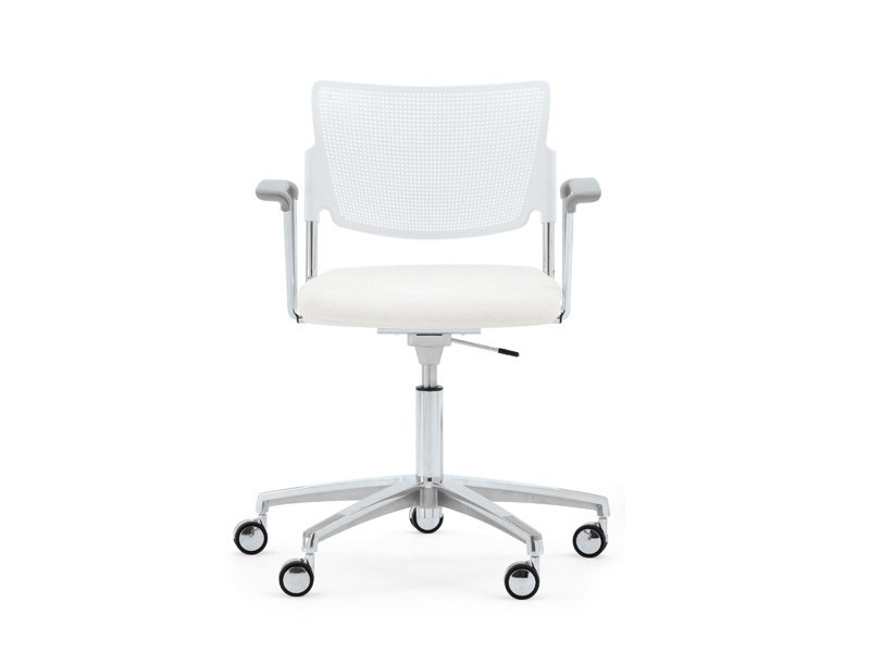 Waiting room chair with 5-Spoke base with Armrests with casters LAMIA EASY SOFT | Chair with 5-spoke base - Diemmebi