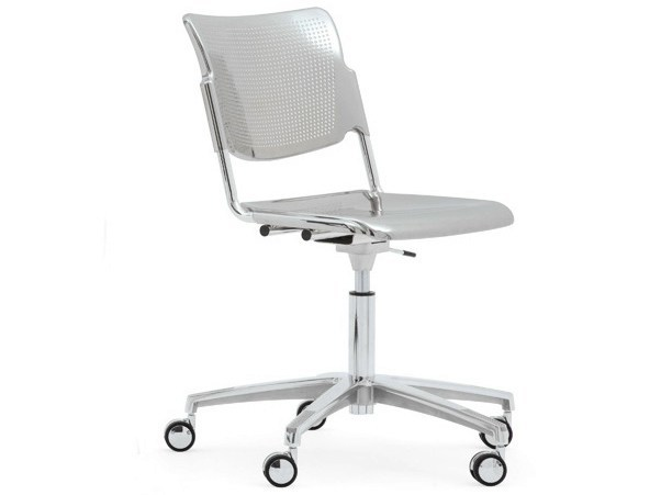 Plate waiting room chair with 5-Spoke base with casters LAMIA METAL | Chair with casters - Diemmebi