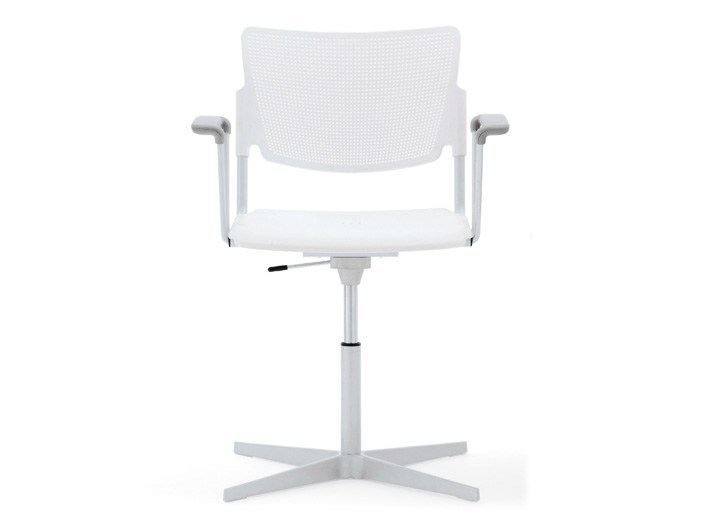 Polypropylene chair with 4-spoke base with armrests LAMIA PLASTIC | Chair with armrests - Diemmebi
