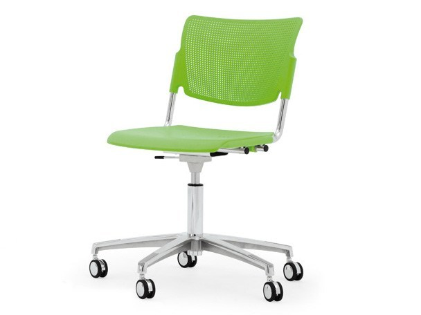 Chair with 5-spoke base with casters LAMIA PLASTIC | Chair with casters - Diemmebi