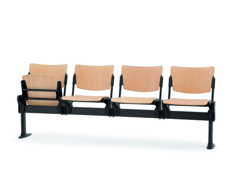 Beech beam seating with tip-up seats LAMIA WOOD | Beam seating with tip-up seats - Diemmebi