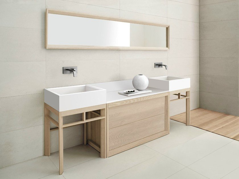 Double solid wood vanity unit VASCA LUNGA | Double vanity unit - GD Arredamenti