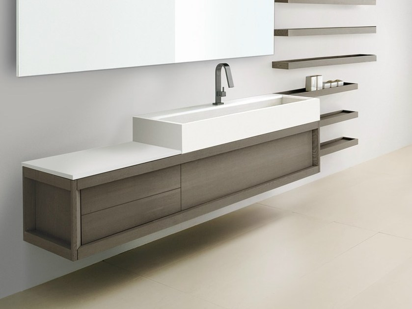 Wall-mounted ash vanity unit VASCA LUNGA | Wall-mounted vanity unit - GD Arredamenti