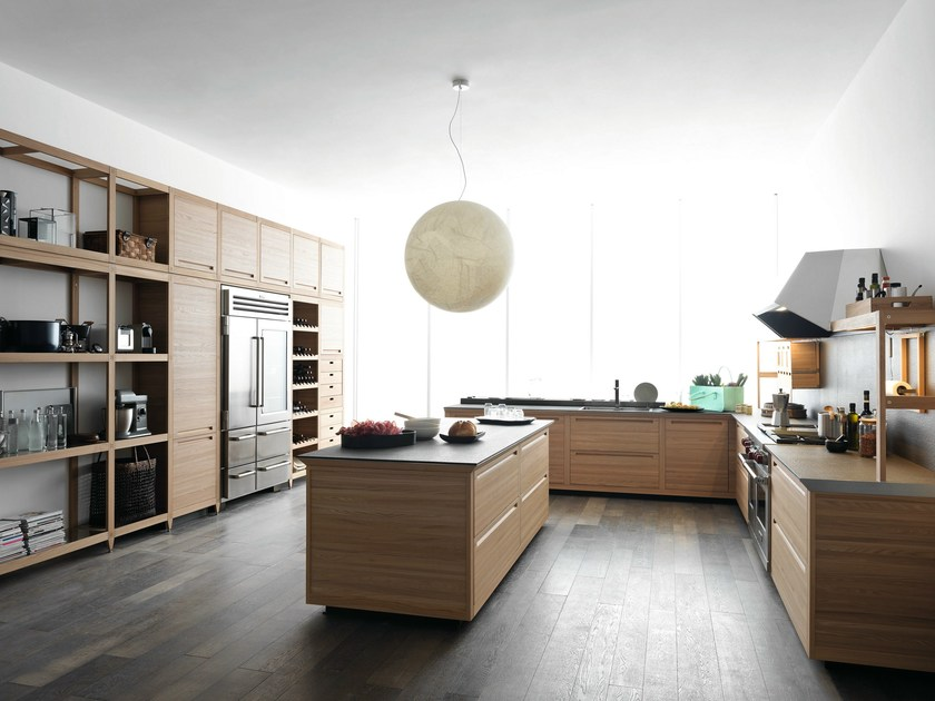 Wooden fitted kitchen with island SineTempore New Mosaic - VALCUCINE