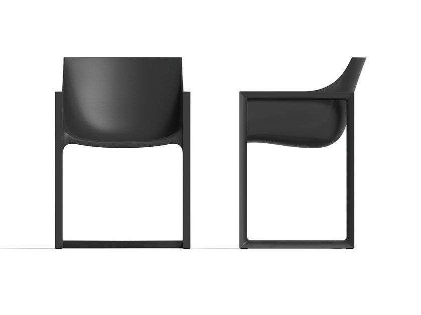 Sled base garden chair with armrests WALL STREET | Sled base chair - VONDOM