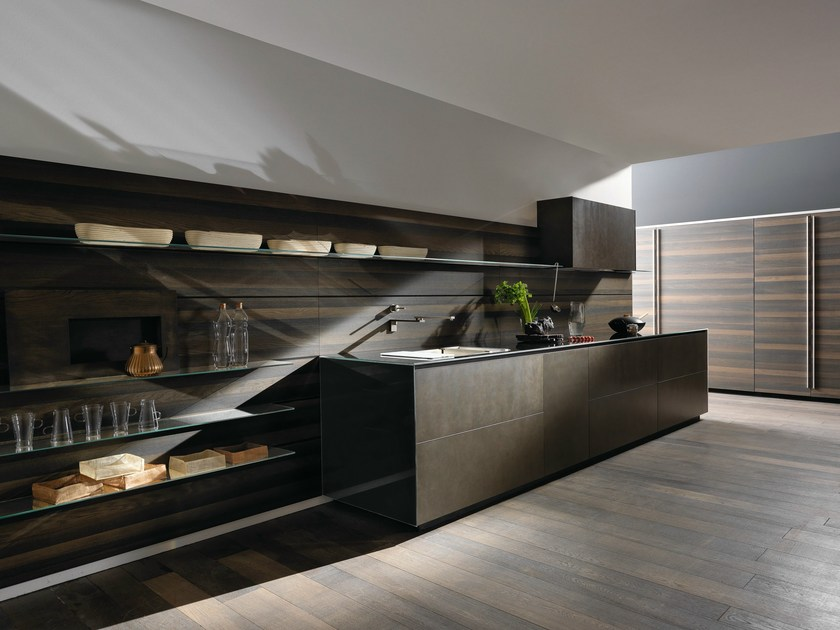 Linear steel fitted kitchen RICICLANTICA INOX TOUCH - VALCUCINE