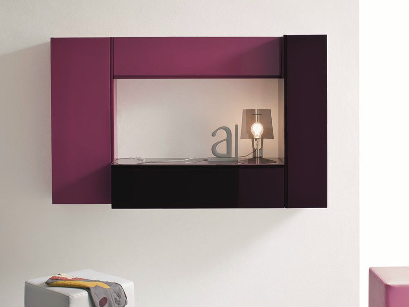 Lacquered wall-mounted hallway unit LOGIKA | Lacquered hallway unit - Birex