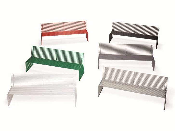 Metal Bench with back ZEROQUINDICI.015 | Bench with back by Diemmebi