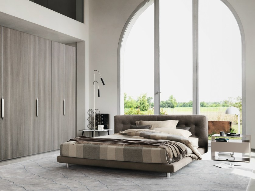 Leather bed with upholstered headboard DOZE | Double bed - Flou