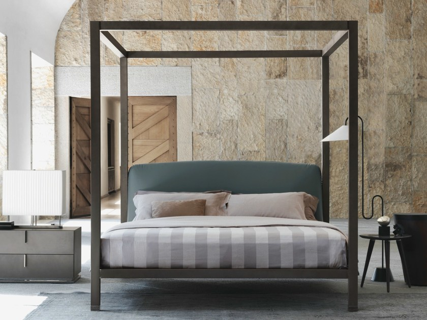 Wooden bed with upholstered headboard ARI | Canopy bed - Flou