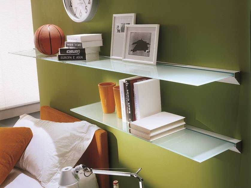 Glass and aluminium wall shelf EIDOS | Wall shelf - Bontempi Casa