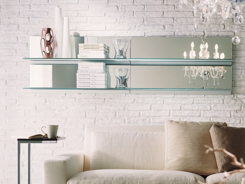 Crystal mirror / wall shelf EIDOS | Wall-mounted mirror - Bontempi Casa