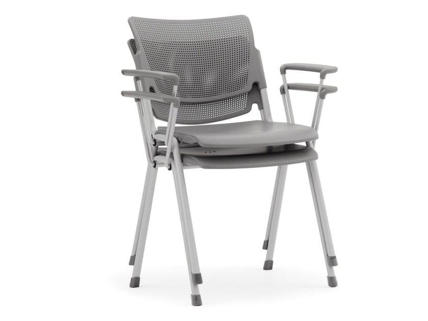 Stackable polypropylene waiting room chair with Armrests LAMIA PLASTIC   Waiting room chair with Armrests - Diemmebi