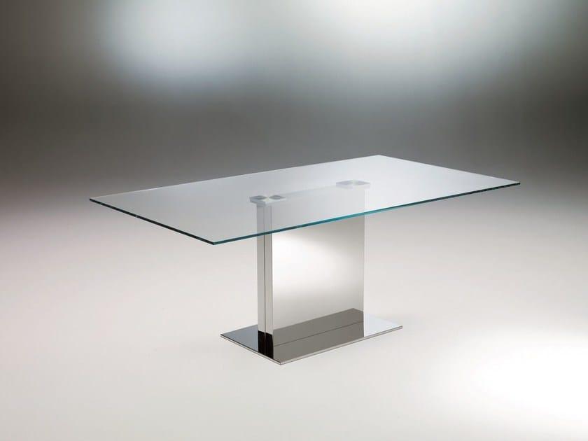 Tavolo rettangolare in acciaio inox e cristallo oasi tavolo in cristallo bontempi - Tavolo cristallo rettangolare usato ...
