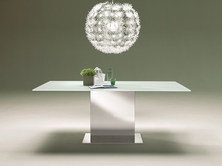 Rectangular crystal and stainless steel table OASI | Crystal table - Bontempi Casa