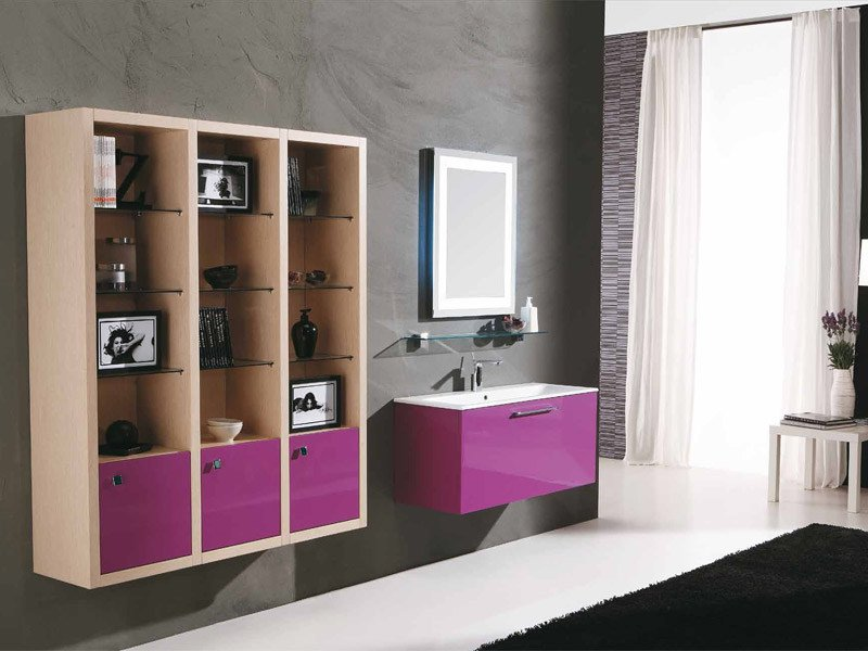 Lacquered vanity unit with drawers GENIUS G233 by LEGNOBAGNO