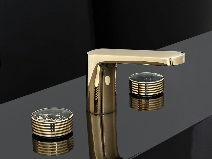 3 hole gold colour washbasin tap with polished finishing TEXTURE | Gold colour washbasin mixer - FIMA Carlo Frattini