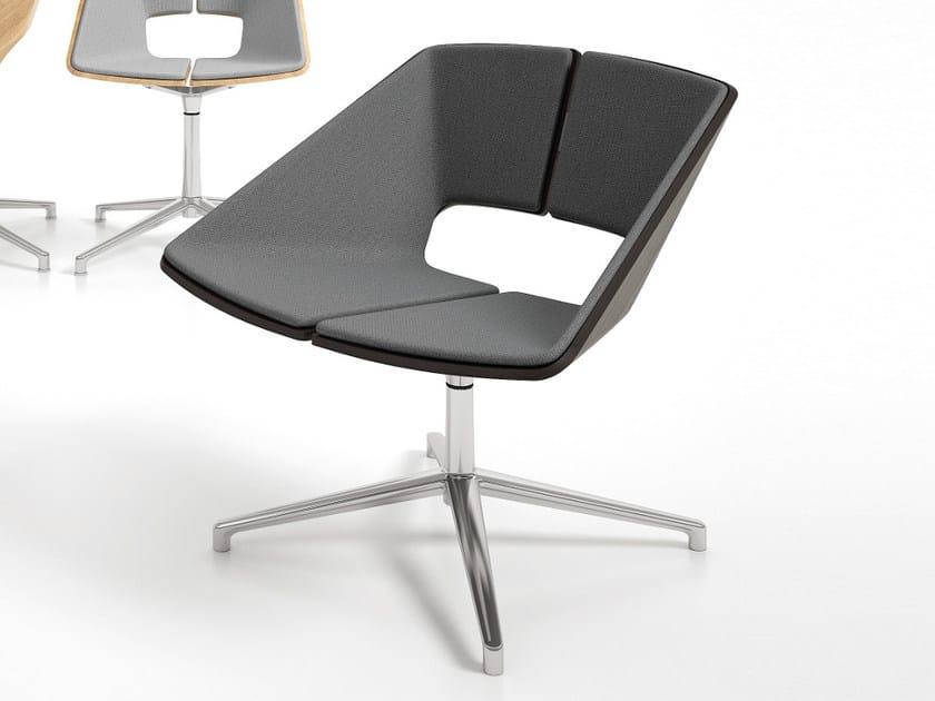 Swivel fabric easy chair with 4-spoke base HUG | Easy chair with 4-spoke base - Infiniti