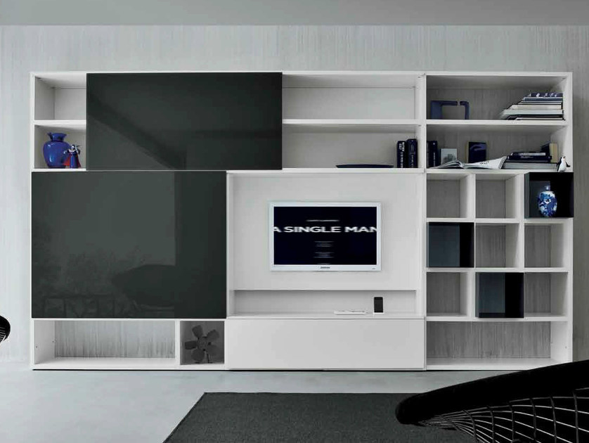 Lacquered TV wall system SPEED D - Dall'Agnese