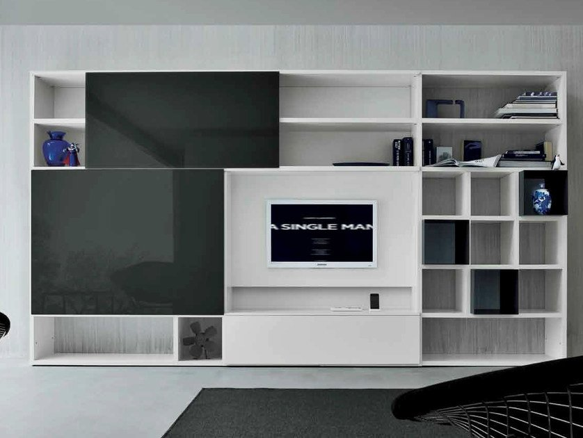 Lacquered TV wall system SPEED D by Dall'Agnese