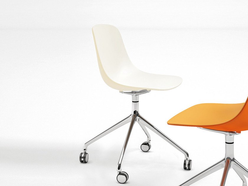 Trestle-based polypropylene chair with casters PURE LOOP BINUANCE | Chair with casters - Infiniti