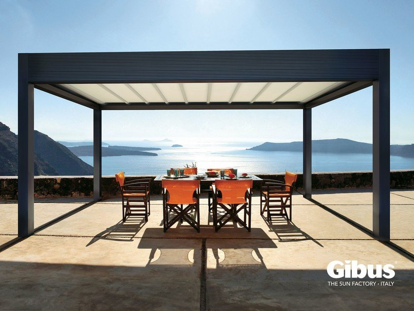 Freestanding aluminium pergola with sliding cover MED ROOM MAKI | Freestanding pergola - GIBUS