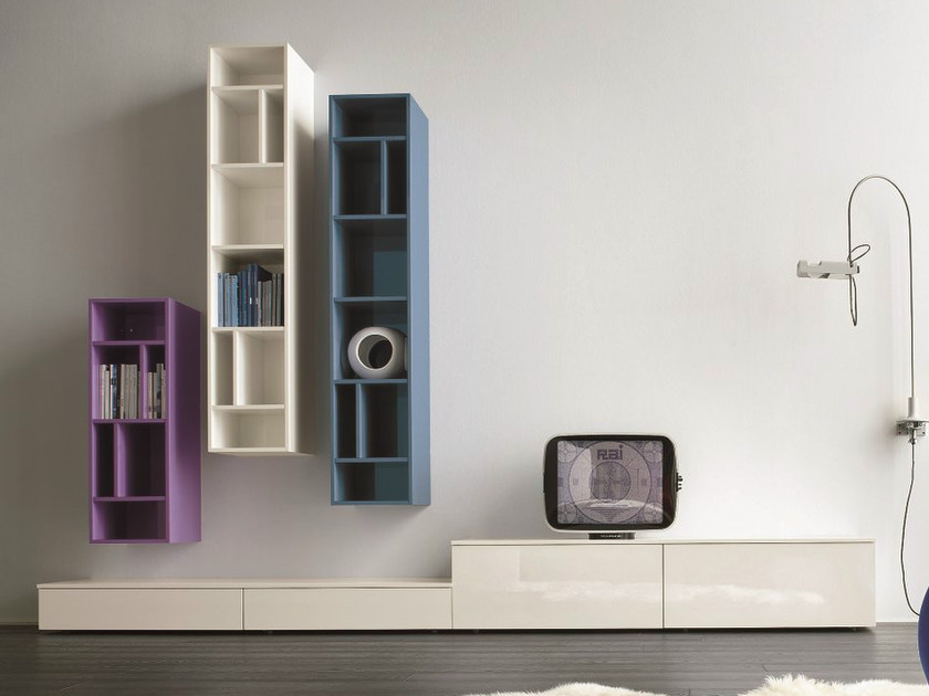 Sectional TV wall system SLIM 4 by Dall'Agnese