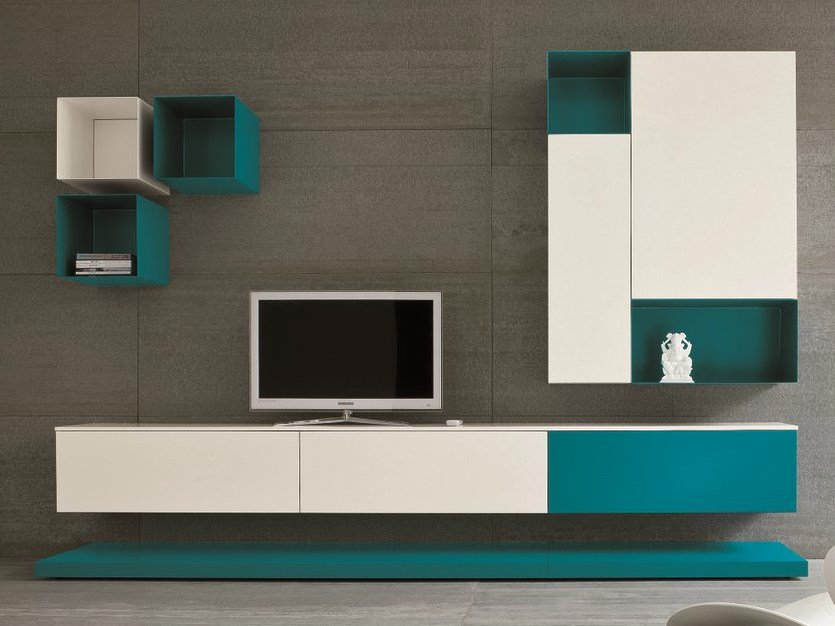 Mueble modular de pared composable con soporte para tv for Mueble con soporte para tv
