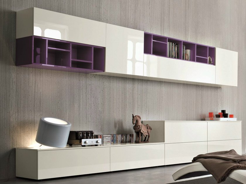 Sectional lacquered storage wall SLIM 11 - Dall'Agnese