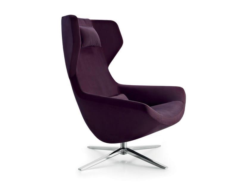 Swivel high-back fabric armchair with 4-spoke base METROPOLITAN '14 | Armchair by B&B Italia