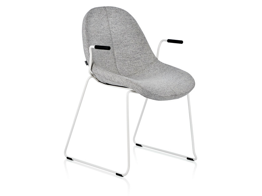 Sled base stackable fabric chair with armrests CODE | Chair with armrests by Johanson Design
