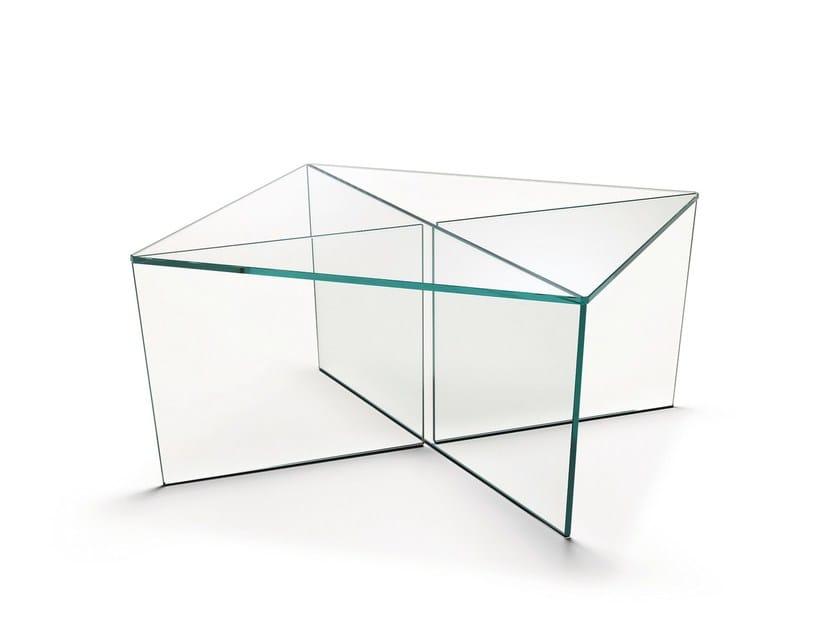 Low square glass coffee table MIRAGE | Square coffee table - T.D. Tonelli Design